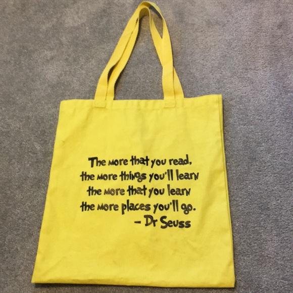 8f567f89b326 Dr Seuss tote book bag yellow fabric